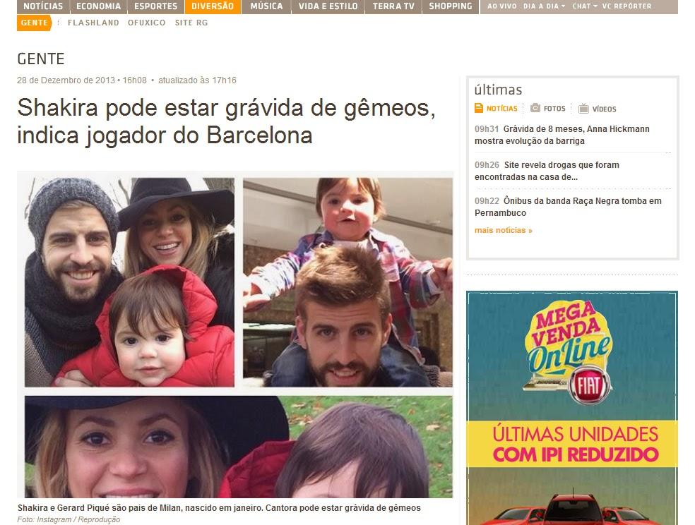 Blog da Shakira - Shakira estaria grávida de gêmeos