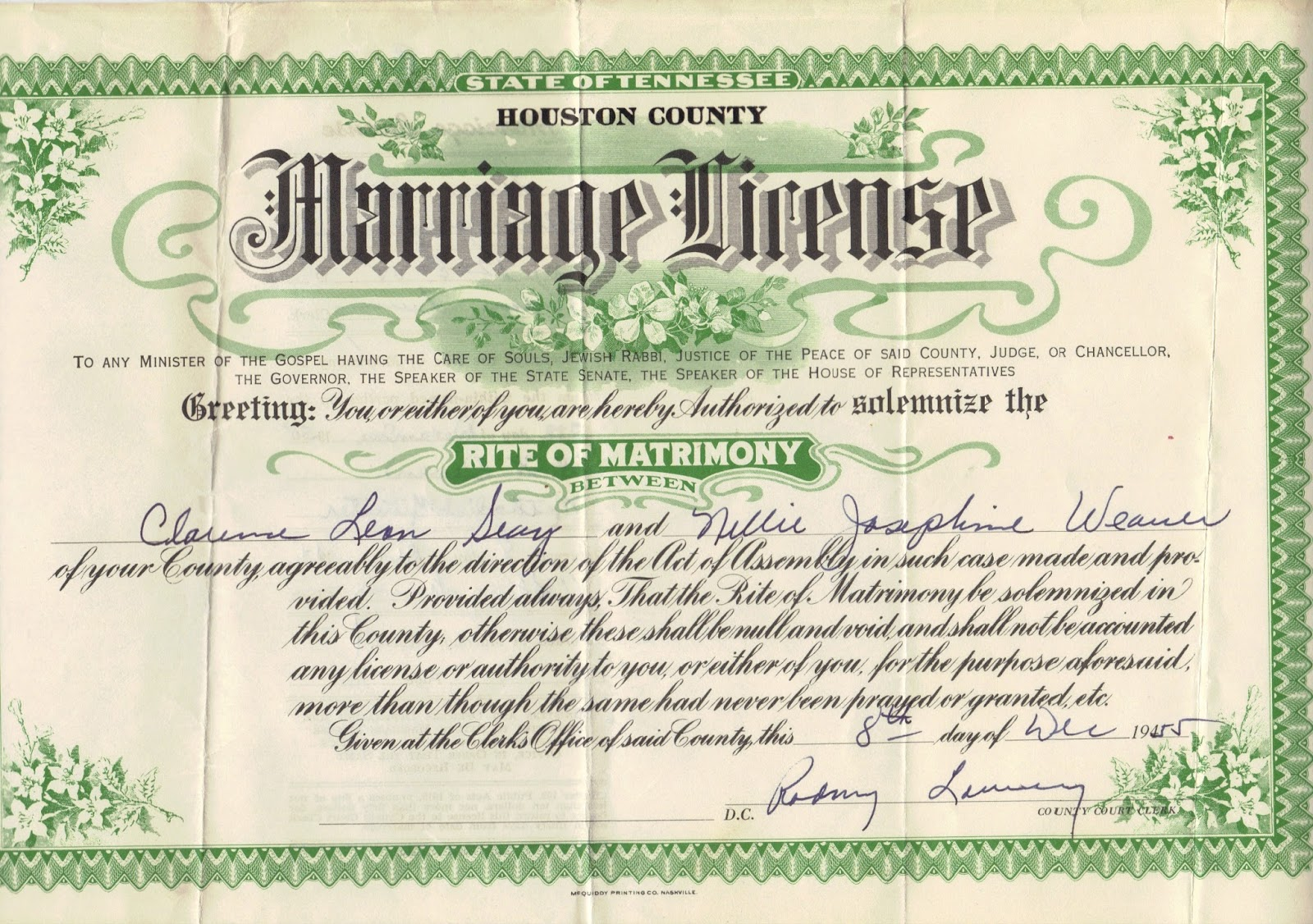A genealogist in the archives marriage license certificate located in the loose marriage records collection at houston county tennessee archives aiddatafo Gallery