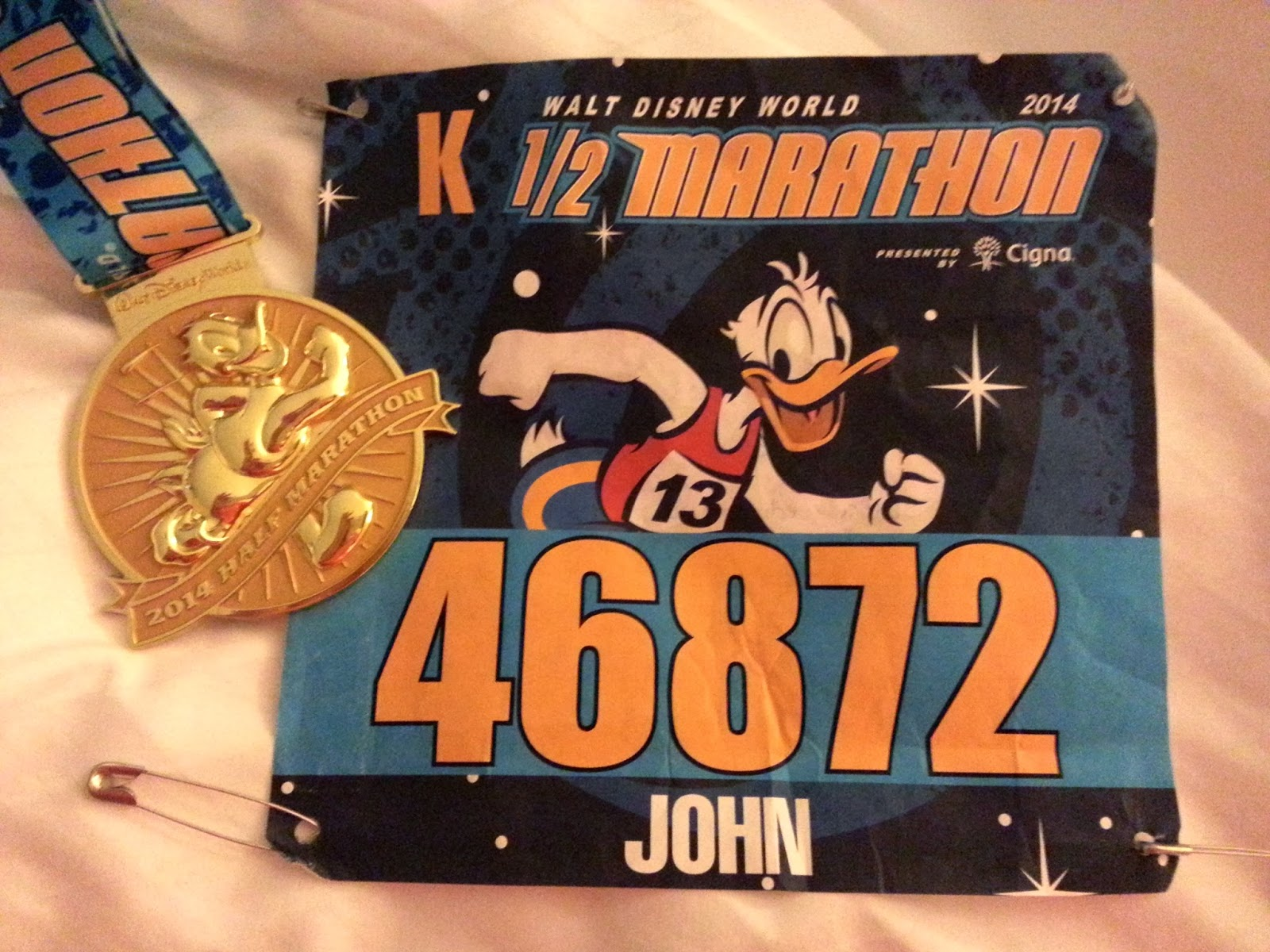 WDW 1/2 Marathon bib and medal