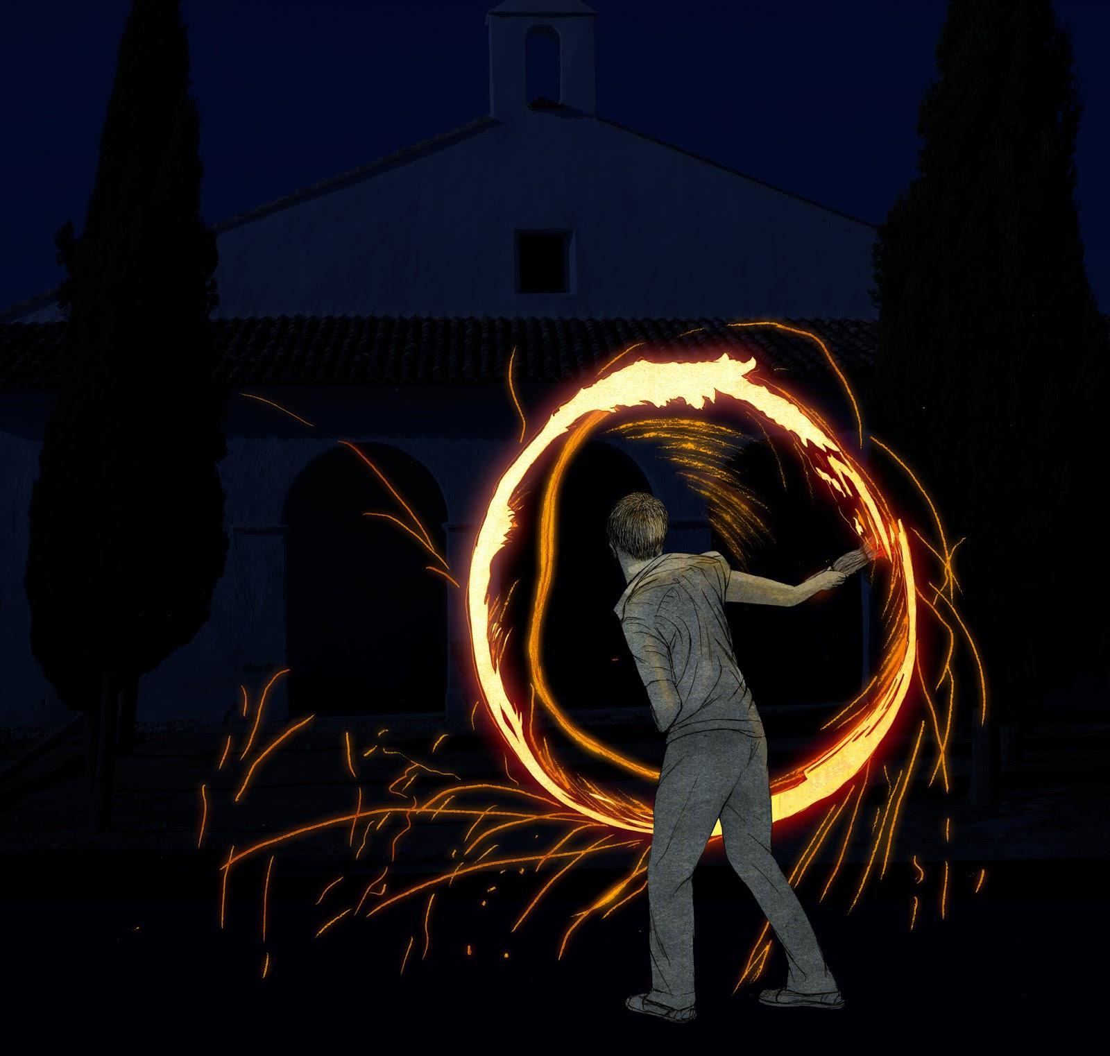 Peste, fuego, celebracion, acrobacia, dibujo