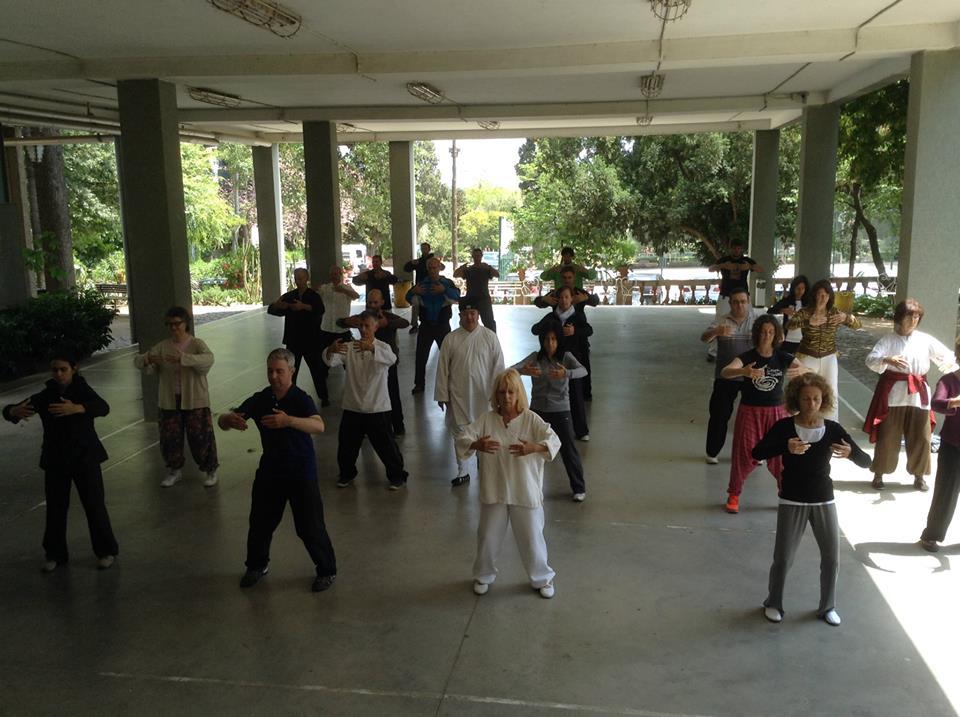 Practicant amb el Mestre Chen Li Sheng