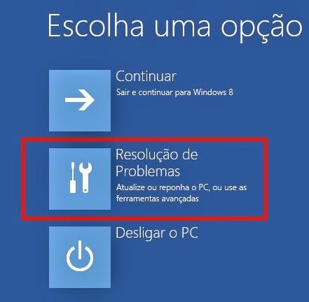 Resolução de problemas no Windows 8