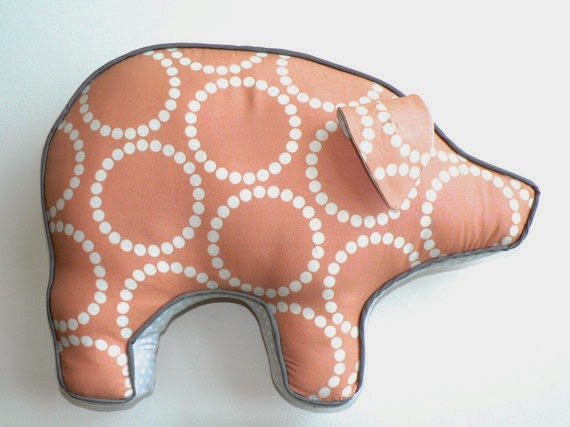 peach pink pig stuffed pillow polka dots circles modern nursery decor baby shower gift
