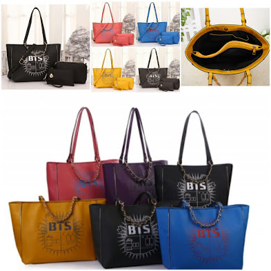 K - POP BAG STYLE ( 3 IN 1 SET ) - BLACK , BLUE , PINK , GREY , YELLOW