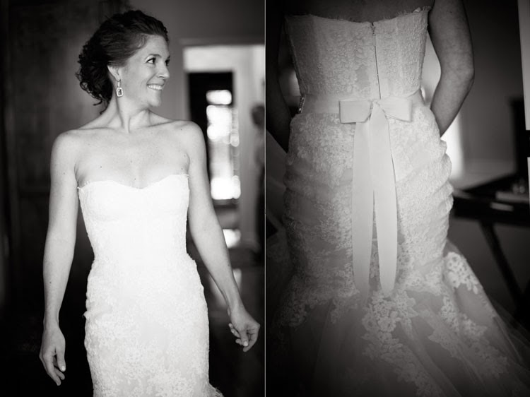 back of bride's Monique Lhuillier wedding dress with the bow tied