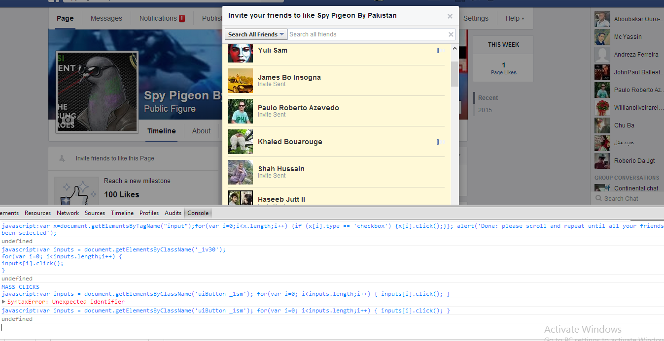 Invite All Friends To Facebook Page Script