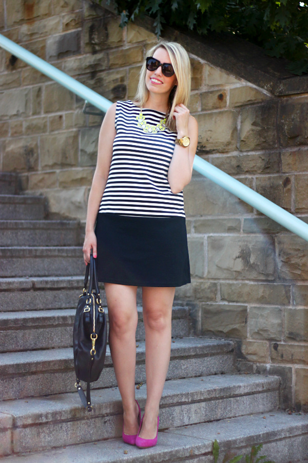 black and white striped shift dress, hot pink pumps