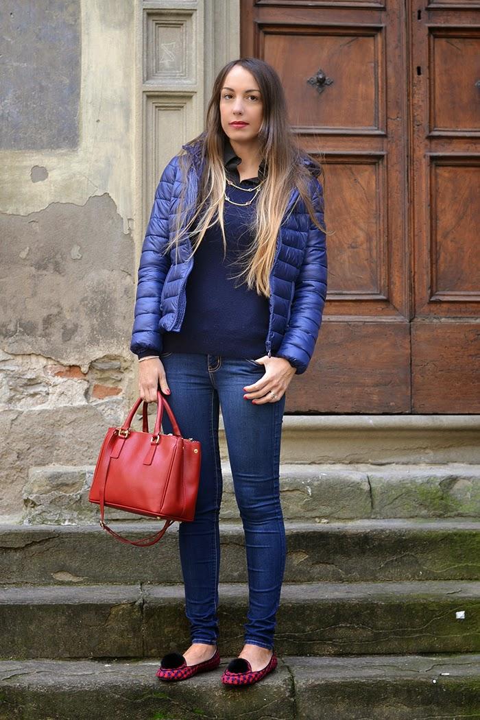 outfit piumino blu