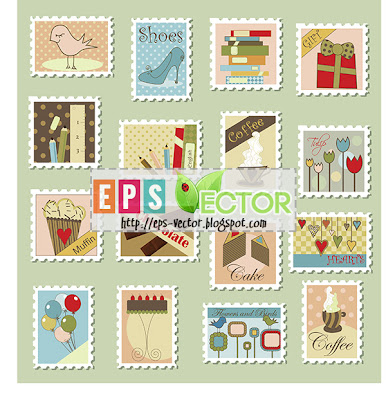 [Vector] - Set of postage stamps