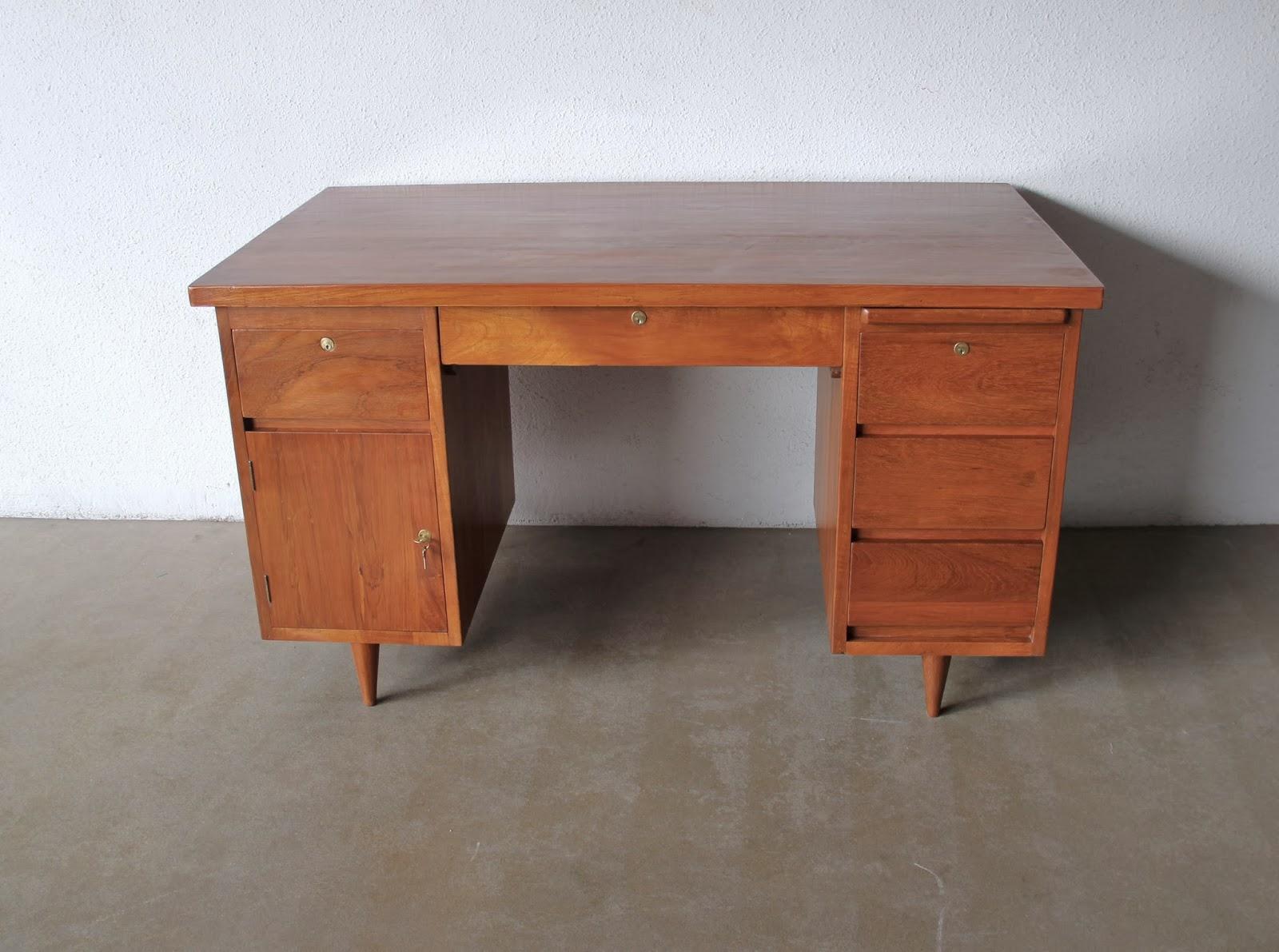 office furniture desk vintage chocolate varnished. Midcentury Writing Table. Solid Teak. Restored. L137 X D75 H76 Cm Office Furniture Desk Vintage Chocolate Varnished