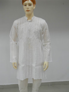 Lucknowi Chikan  Men Full White Kurta Paijama