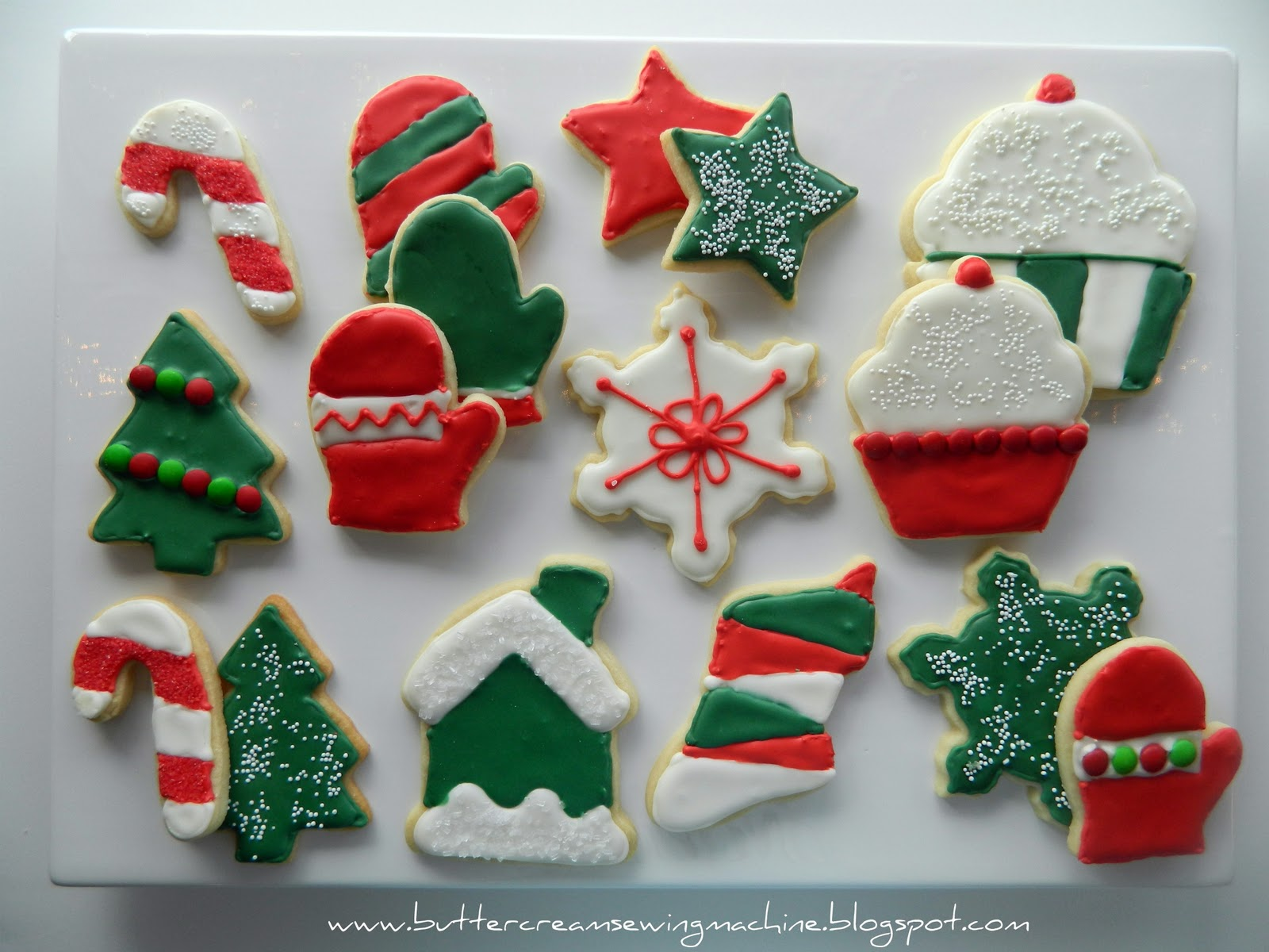 buttercream and a sewing machine decorating christmas cookies - How To Decorate Christmas Cookies With Royal Icing