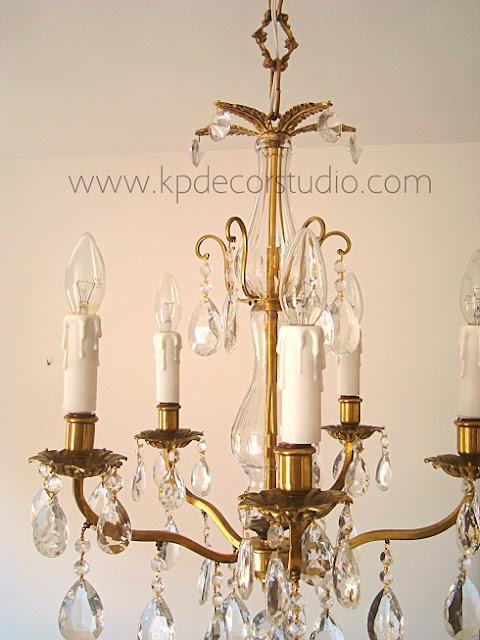 Lámparas antiguas auténticas chandelier con lágrimas originales y brazos de latón y bronce