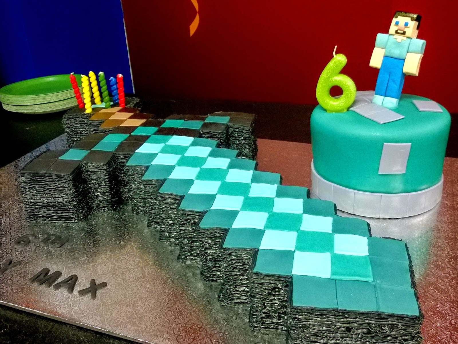 Minecraft diamond sword birthday cake