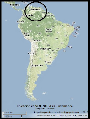 Mapa de Relieve. Ubicación de VENEZUELA en Sudamérica