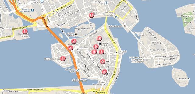 Mapa de la ruta dia 1 por estocolmo