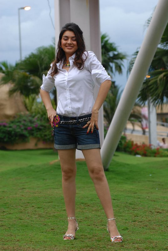 Hansika motwani Is a rockstar in denim shorts and a white button down shirt. She is always raunchy!  - Hansika Motwani in Shorts!! Very hot!!