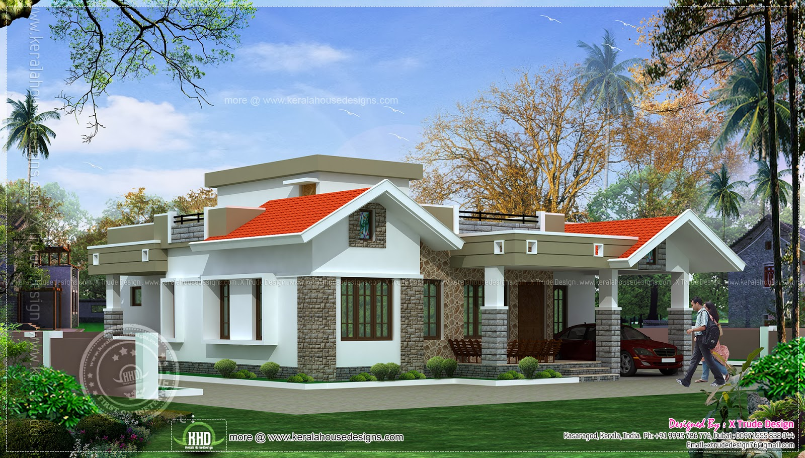 2 bedroom one floor kerala style home design indian for Two bedroom house plans kerala style