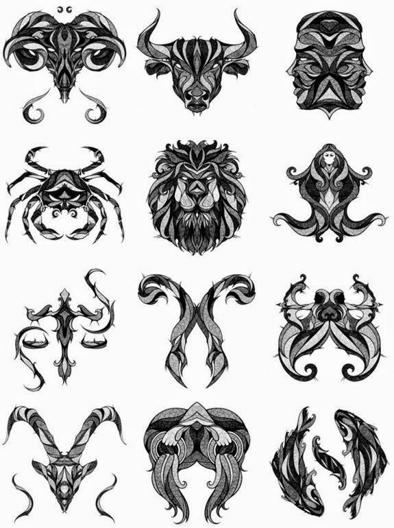 Diseño Tatuaje tribal signos zodiacales set 02