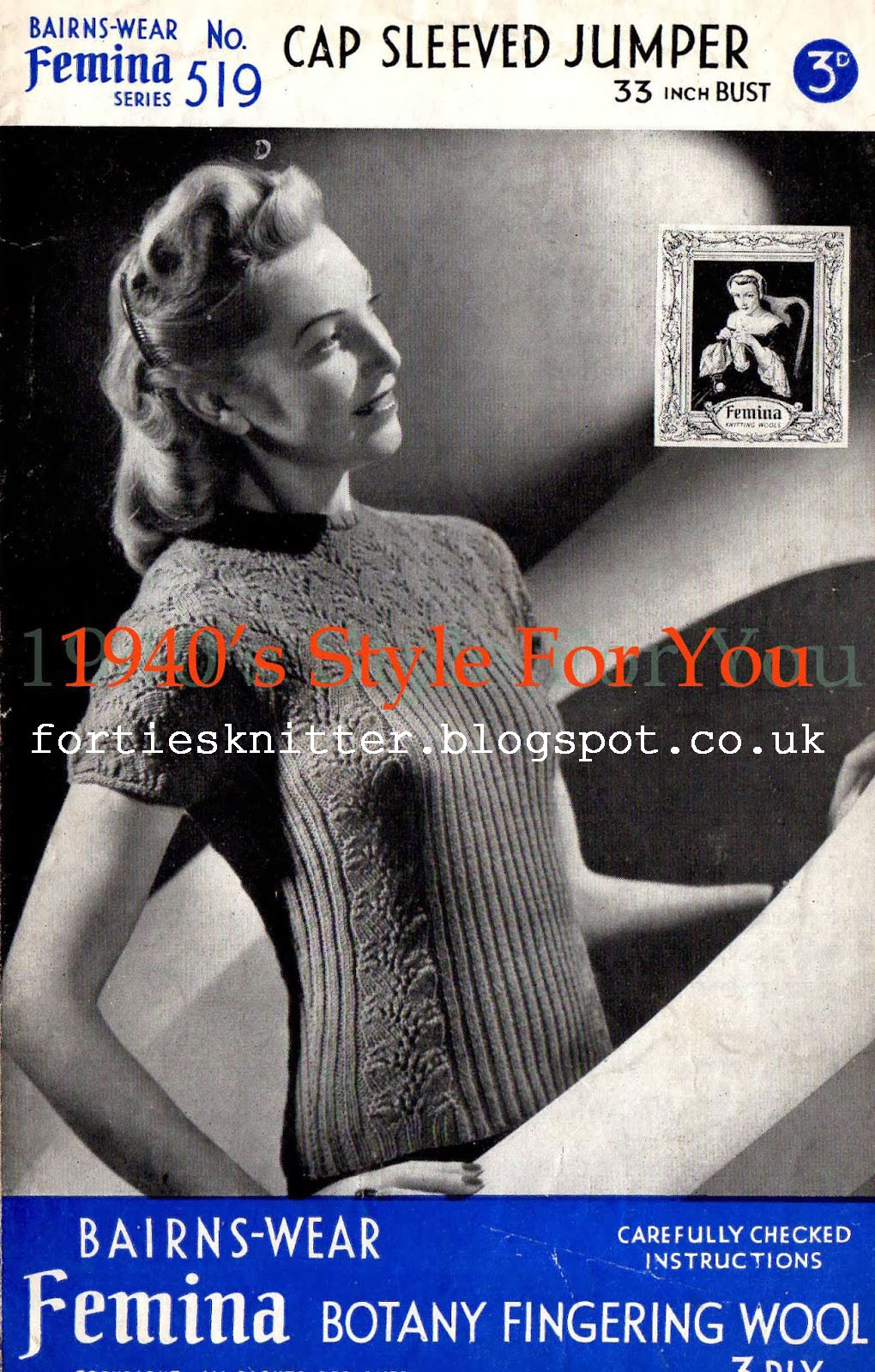 free pattern 1940's Knitting - Lady's Cap Sleeved Jumper