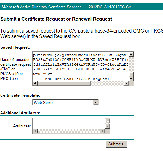 Vmware view certificates and thumbprints man in the middle issue paste the contents of the certreqtxt file in the box and select web server as a certificate template click submit yadclub Gallery