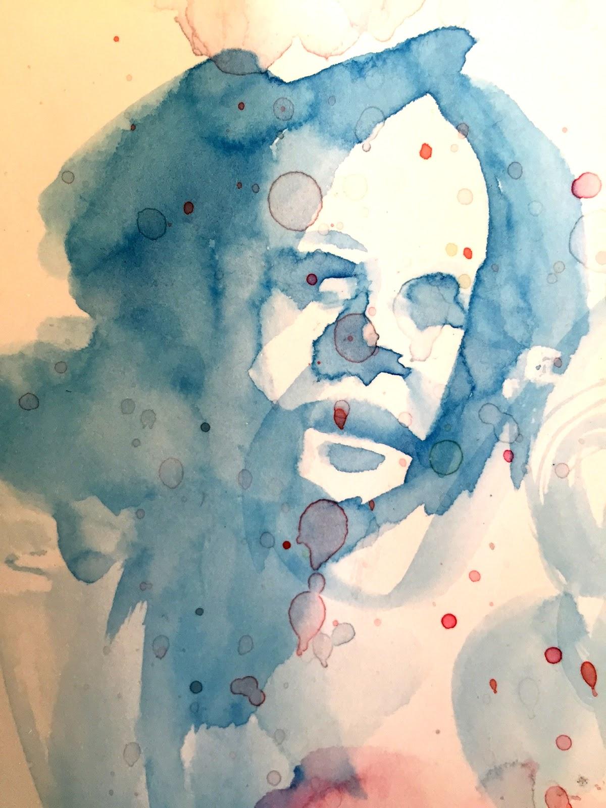Watercolor Face Doodle by Artmagenta