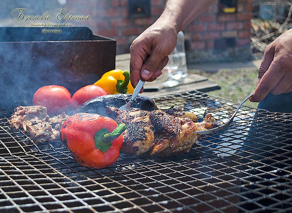 запеченные овощи, мясо, шашлык