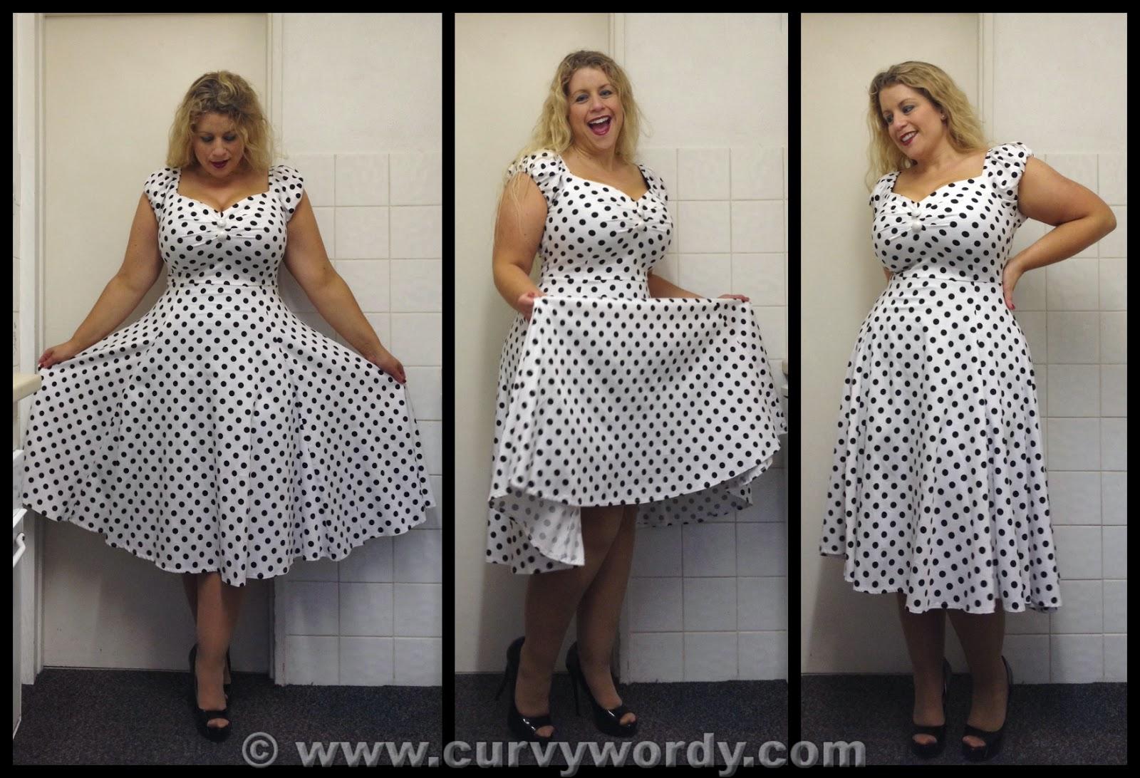 c42fd12c27 Collectif Dolores Doll White Black Polka Dot Dress 12 - Curvy Wordy