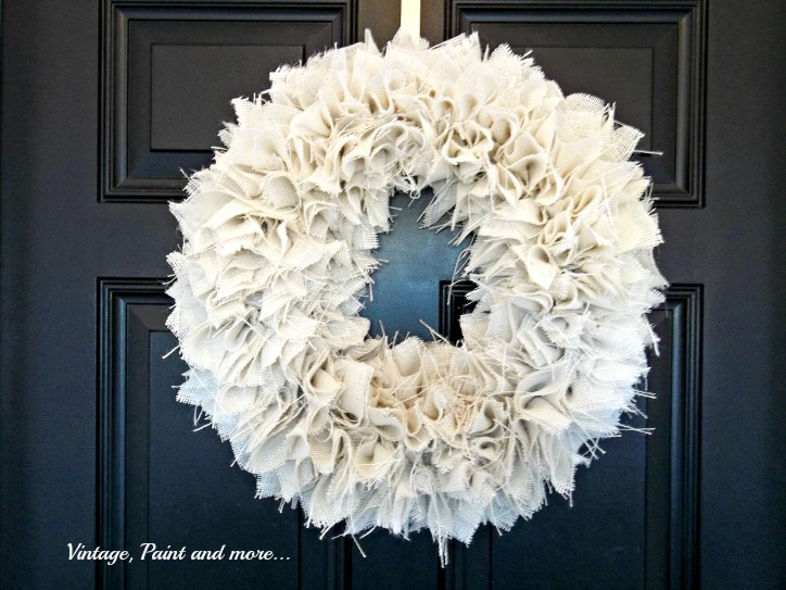 Vintage, Paint and more... textured wreath made from white burlap and styrofoam wreath form