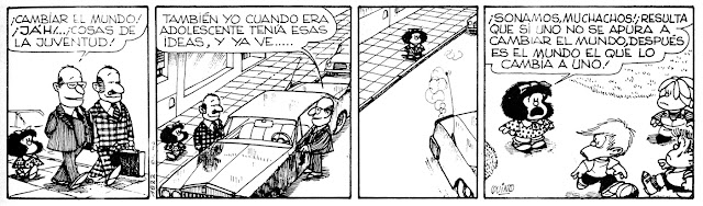 Mafalda comic strip with English translation on youthful idealism