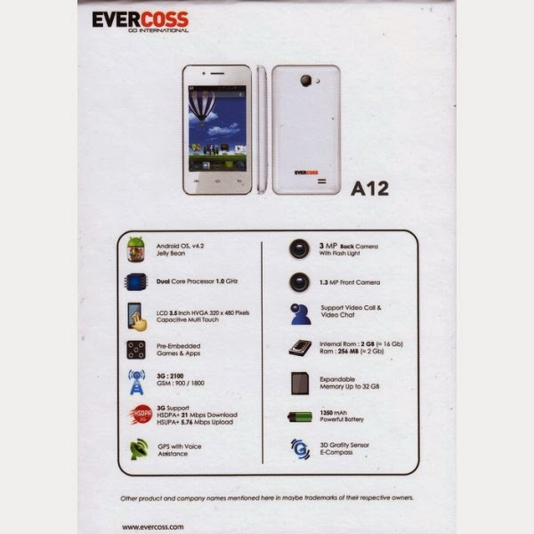 evercoss a12 Spesifikasi dan Harga Evercross A12, Android Jelly Bean Bisa BBM an