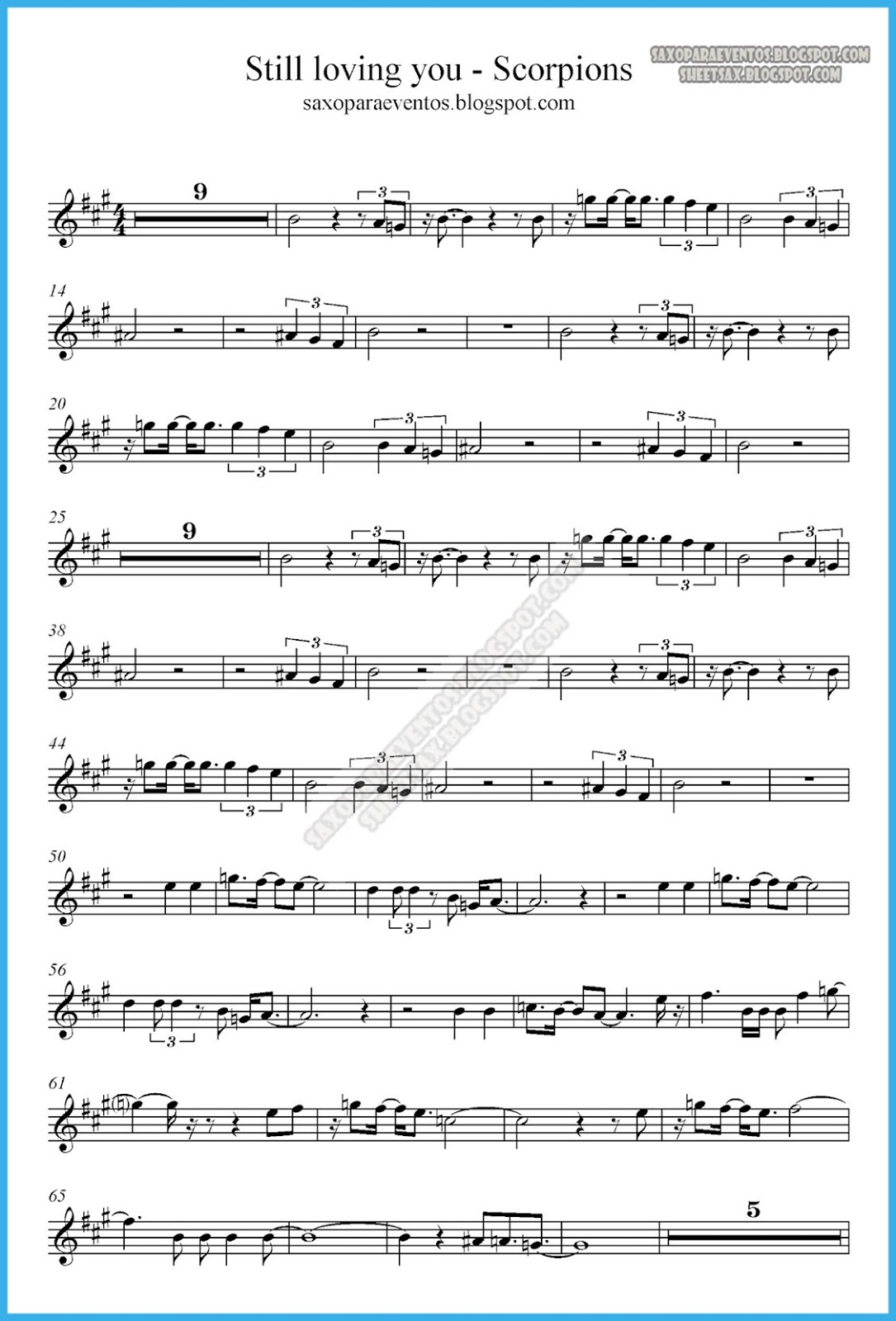 Music Score Of Still Loving You By Scorpions Sheet