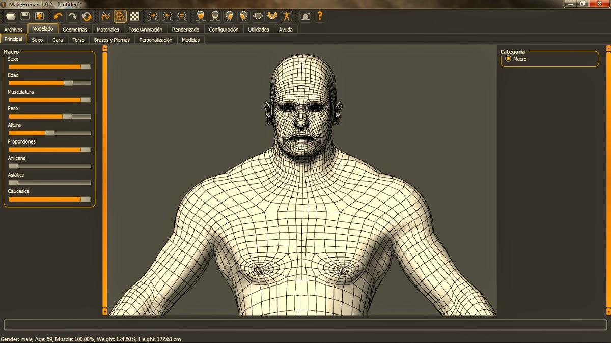 Lapiz y bits makehuman crear seres humanos en 3d for Programa para hacer disenos en 3d