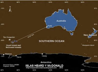 Ubicacion de Las Islas Heard y McDonald con respecto a Australia y Antartida
