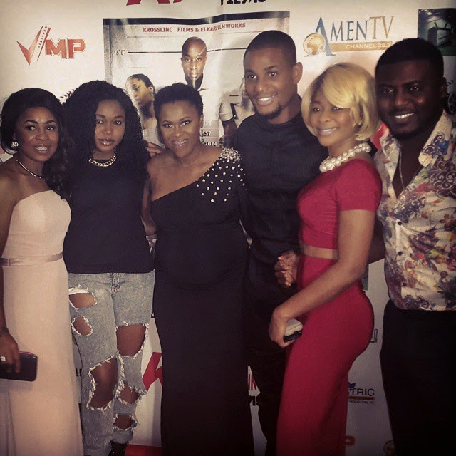 Uche Jombo and Ruth Kadiri at the premiere of New Movie The Other Side