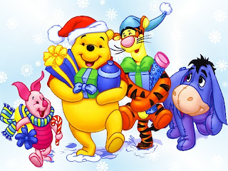 Smiling Christmas teddy bear with Santa hat, X mas gifts in hands and cartoon characters desktop wallpaper
