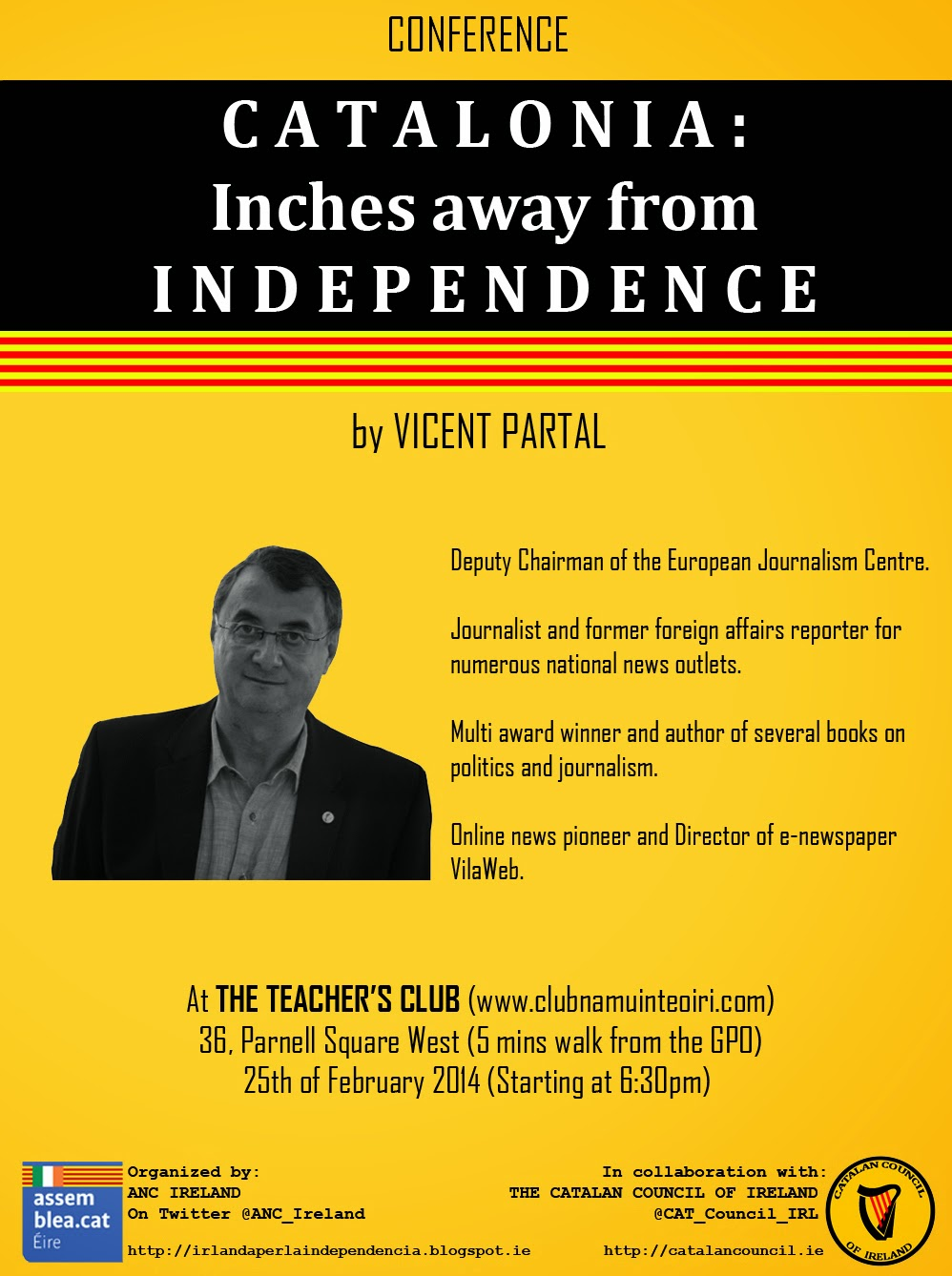 Catalonia: Inches away from independence – Conference in Dublin 25F 2014