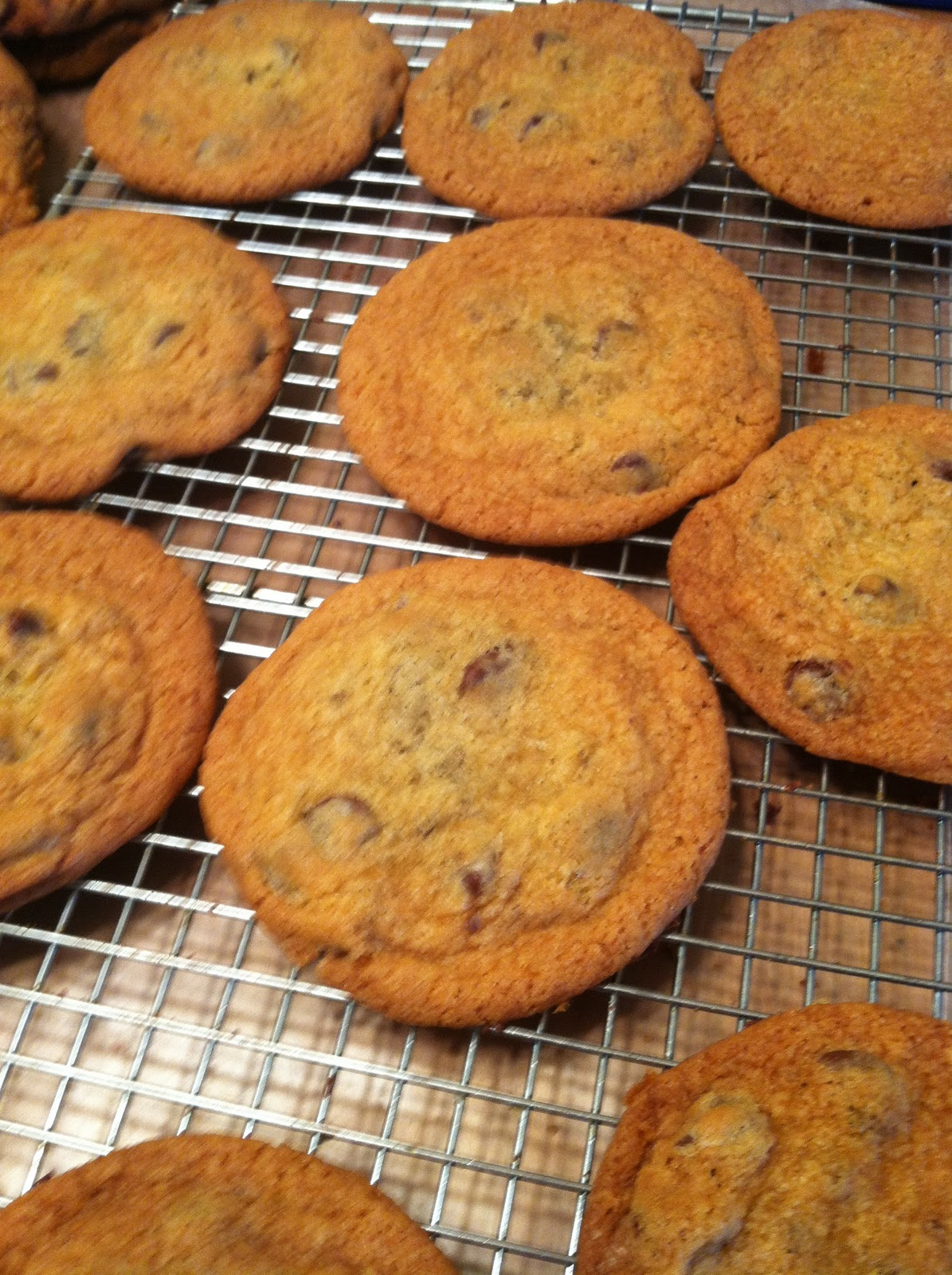 I also decided to make a batch of crazy chocolate chip cookies to go along with these. The crazy cookies are Three Chocolate Cookies from Paula Deen.
