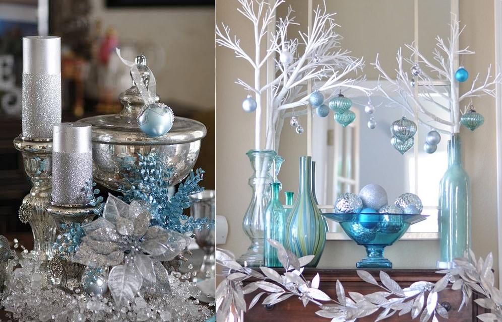Decoraci n navide a en azul blanco y plata casas ideas - Decoraciones en color plata ...
