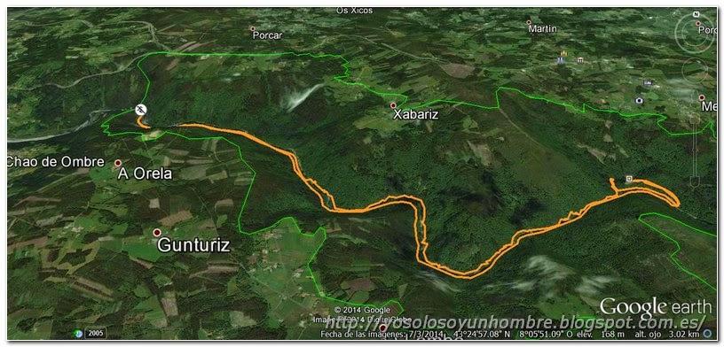 Mapa de detalle ruta Fragas del Eume