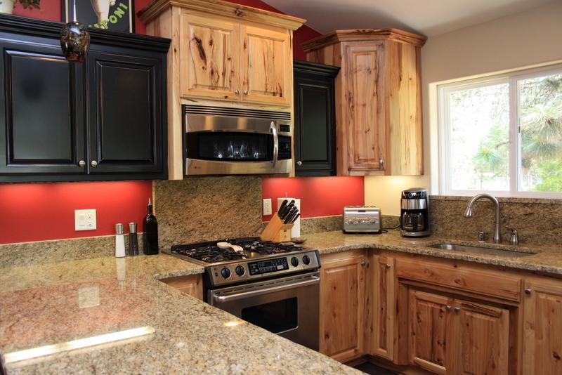Custom Cabinets Raised Panel Rustic Hickory & Painted Black Cabinets