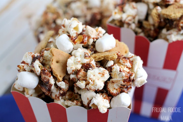 Buttery popcorn is tossed with creamy Nutella, crunchy graham cracker pieces, and mini marshmallows in this Nutella S'mores Popcorn. #Pop4Fantastic4 #Pmedia #ad