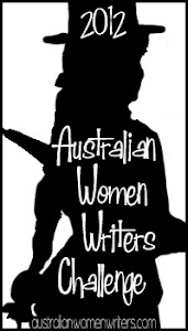Black-on-white silhouette of an apparently female figure in a top hat, with the words in white: 2012 Australian Women Writers Challenge (and the url australianwomenwriters.com at the bottom)