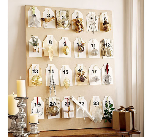 Repurpose a ladder into an Advent Calendar. Sew little bags and tie ...: inspirationforhome.blogspot.com/2011_11_01_archive.html