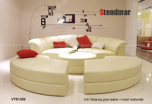 Round Yellow Leather Sectional Sofa