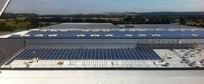 UK's largest single company solar photovoltaic installation on the HQ of the Body Shop: 3,840 modules over 6,355 sq meters