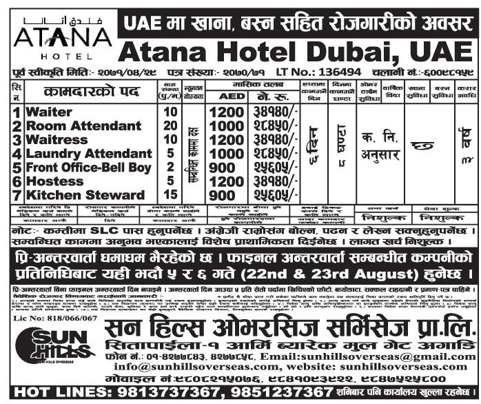 Job Vacancy In Dubai At Atana Hotel