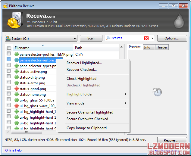 Piriform Recuva v 1.50 - Recovery Software