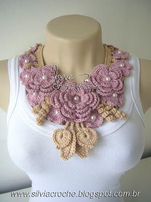 colar miss flor, colar de croche, colar com flores rosa, rosa, feminino, colar de flores