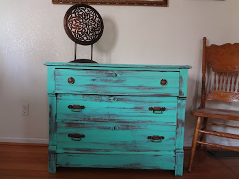 Antique Aqua Mint Shabby Chest of Drawers-$250